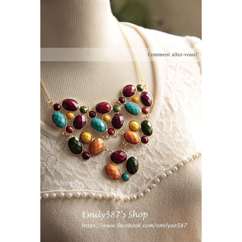 Emily587 ~‧韓國飾品華麗感~糖果色橢圓形寶石風格項鍊