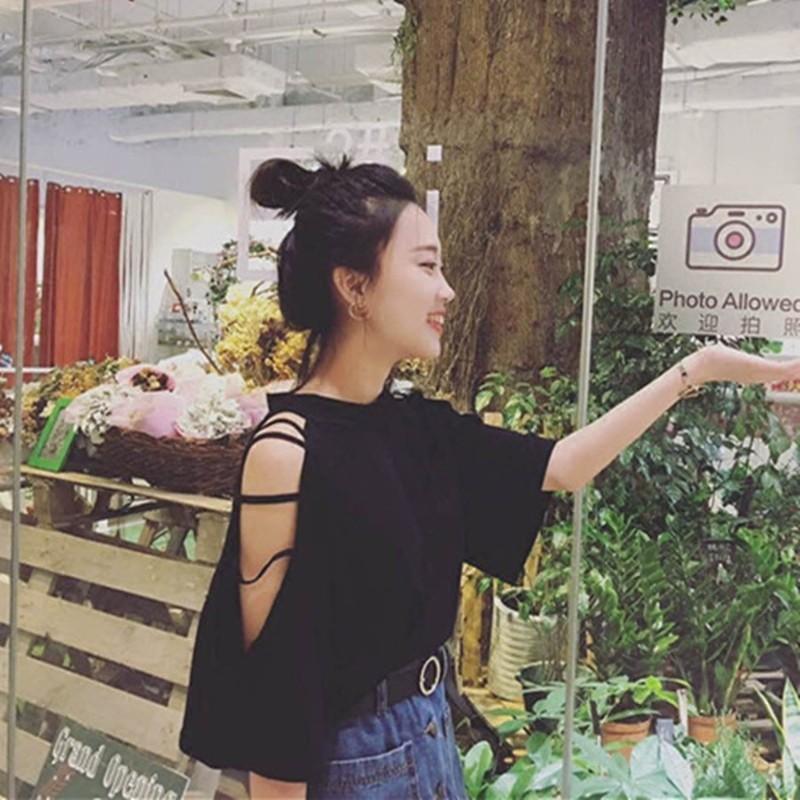 ❤ ❤夏裝韓國chic 復古寬鬆鏤空露肩純色短袖T 卹顯瘦百搭半高領上衣女