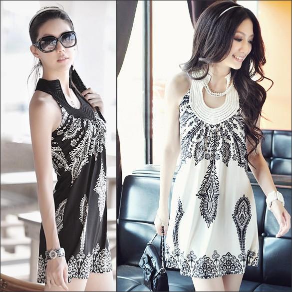 女子性感波西米亞風 立領洋裝連身裙
