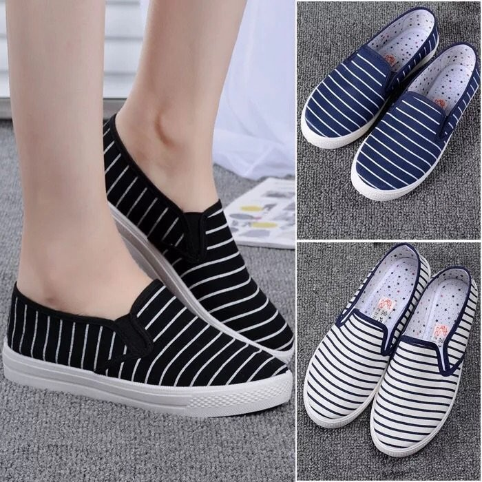 藍色 區條紋懶人鞋帆布鞋平底鞋娃娃鞋孕婦鞋36 41 大碼尺寸偏小一碼