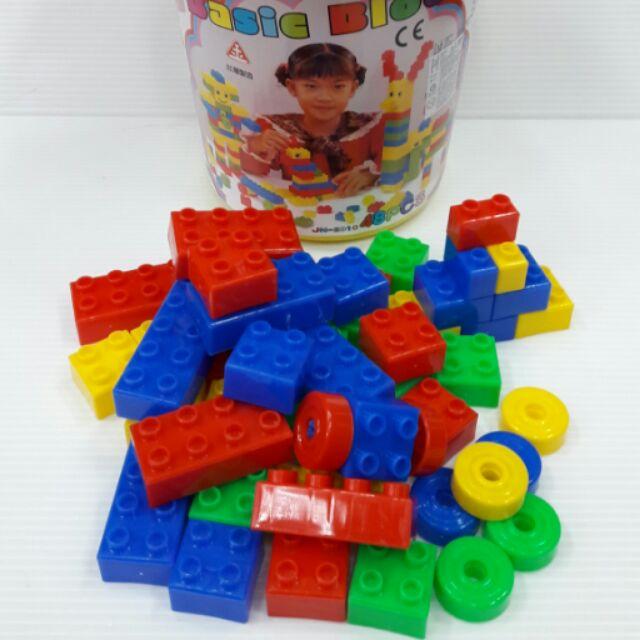 桶裝手提收納盒塑膠積木玩具,臺灣 ,48 顆裝
