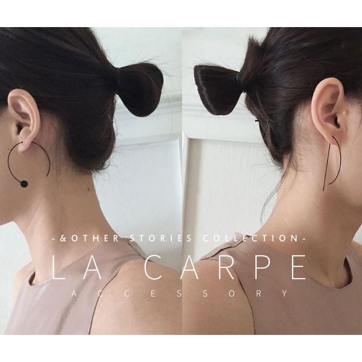 LaCarpe Other Stories 系列 極簡掛式線條圓圈耳環 款霧黑~COS02