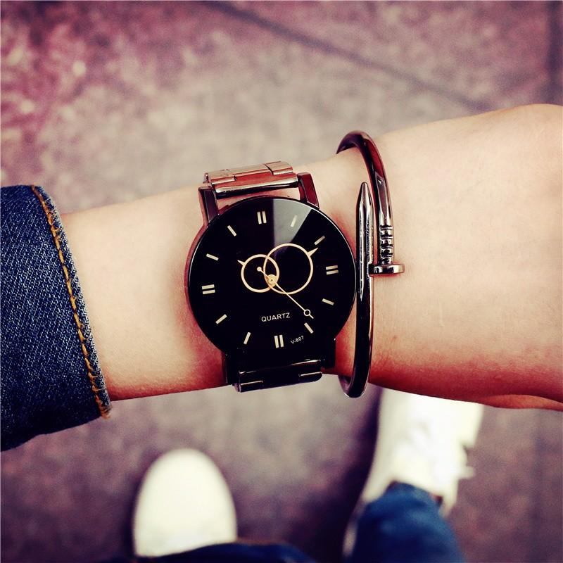 ~唯美旗艦店~ 款的呢n  潮流男士腕表非機械鋼帶防水石英女款中學生情侶手表一對