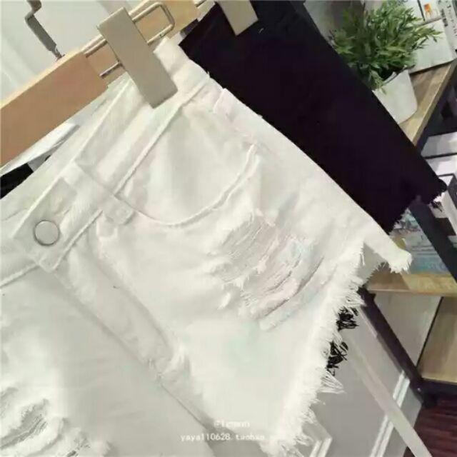 ~~ ✙ ~~韓國破洞毛邊學生牛仔短褲黑白寬鬆性感熱褲乞丐褲