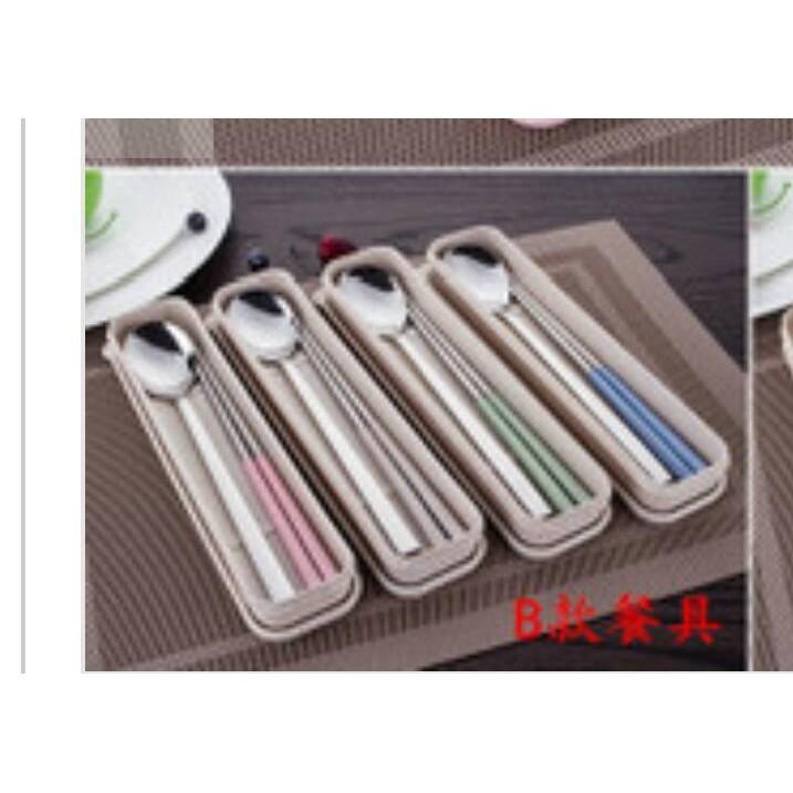 旅行攜帶兩件套餐具小麥秸杆長柄筷子湯匙套裝學生筷子湯匙餐具304 不銹鋼餐具