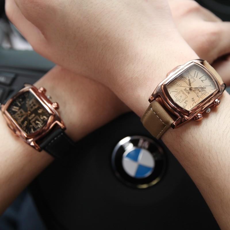 大表盤拇指家庭中性潮流女表 皮帶男表學生情侶超薄防水石英手表