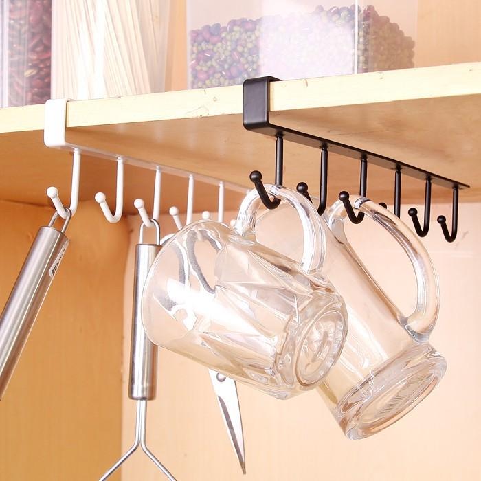 2736 鐵藝櫥柜收納掛架多 排鉤衣柜整理架廚房無痕免釘掛鉤~ 訂單滿299 發貨可多樣~