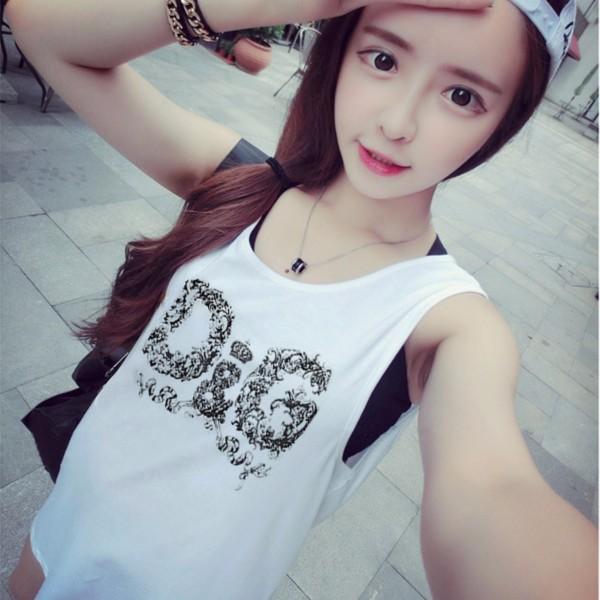 一件 Small Puzi 韓國小清新字母簡約圓領寬鬆無袖中長款T 恤背心連衣裙衣服短袖上