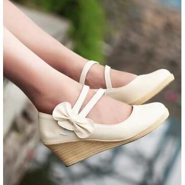 娃娃鞋 甜美蝴蝶結搭扣單鞋女春秋圓頭坡跟高跟公主鞋厚底娃娃瓢鞋子~台北韓風館~