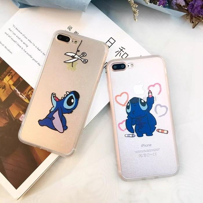 史迪奇iPhone7 iPhone6 s plus i6 i7 手機殼蠶絲紋軟邊H0021