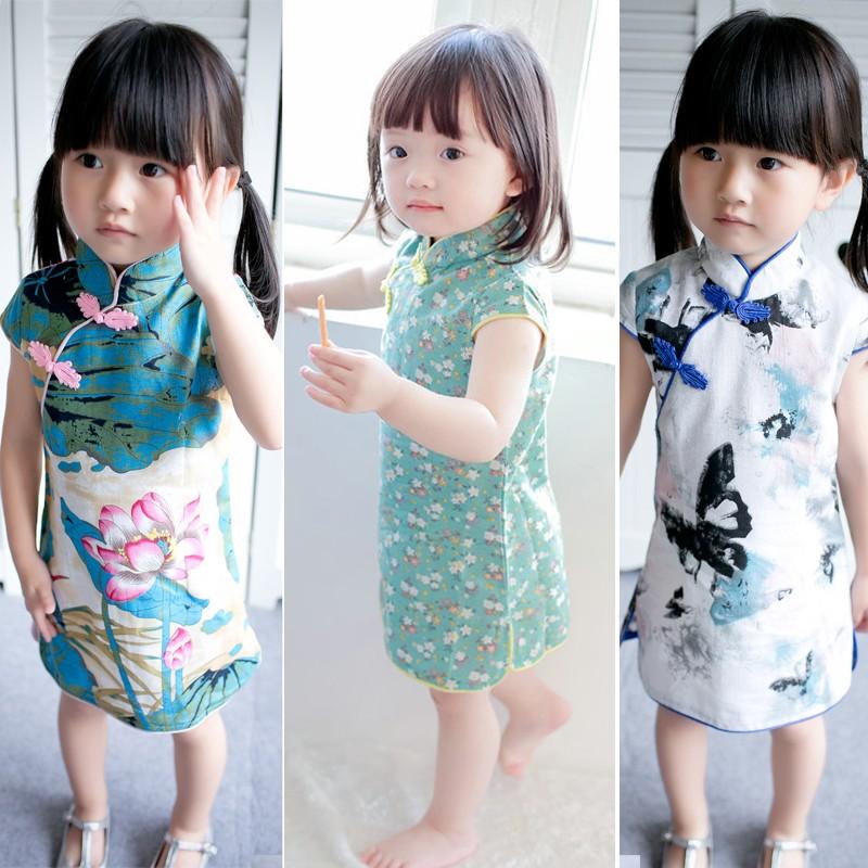J7224 夏款女童裙子名媛中國風旗袍連衣裙棉麻洋裝有多色款 選購