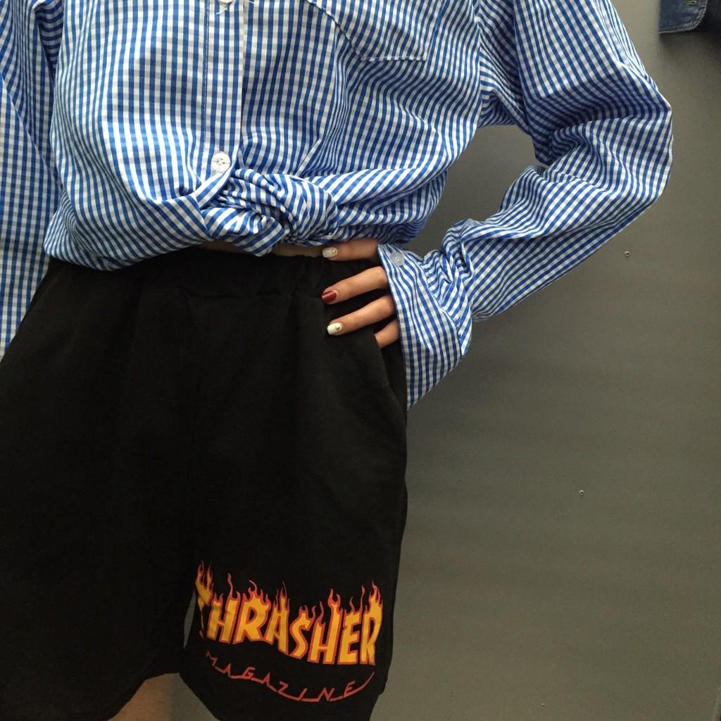 2016 新品原宿風 火焰印花 百搭寬松學生短褲闊腿褲子女寬褲褲裙長洋裝背心吊帶裙襯衫套裝