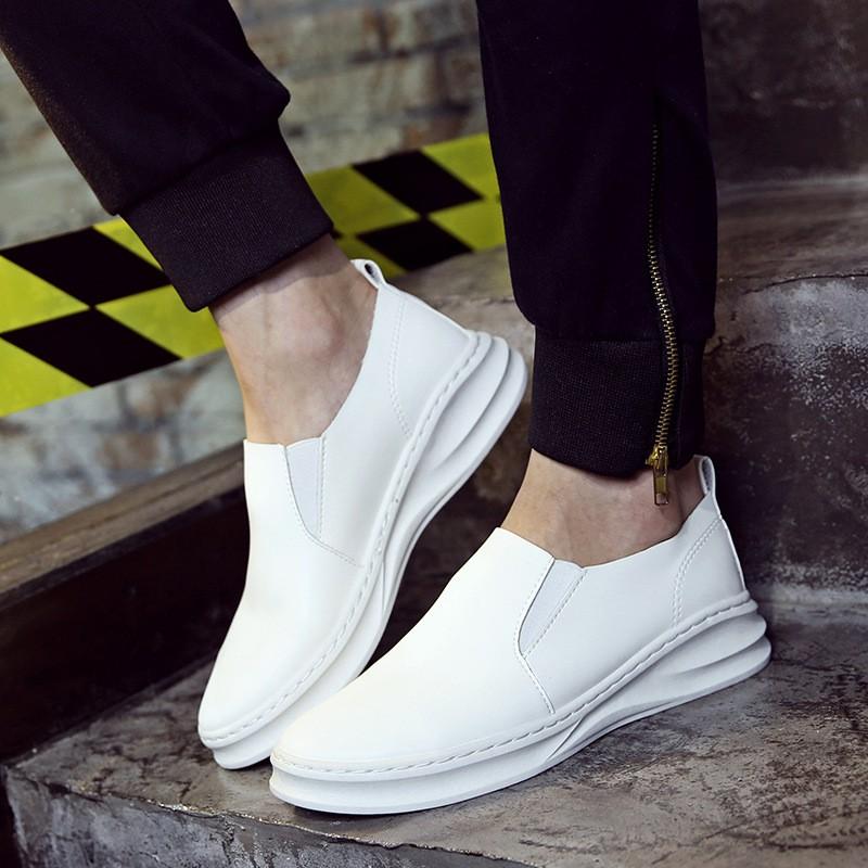 休閒男鞋 板鞋男單鞋松糕底厚底潮流 腳套白色皮鞋