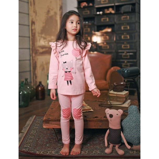 J3110 趣味粉紅貓咪女童家居服 童秋衣可愛韓國童內衣