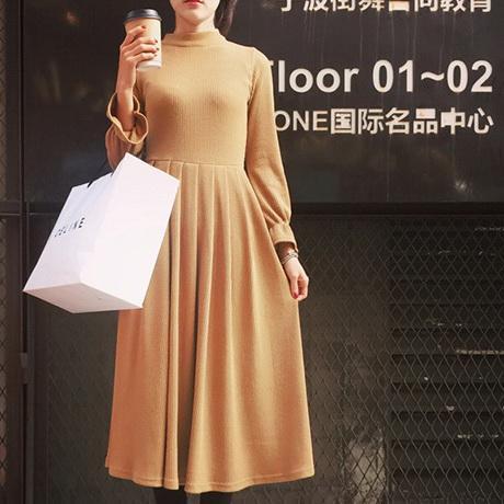 2016  修身顯瘦高腰螺紋長袖打底連衣裙 氣質立領中長裙k04 3834 cd 7