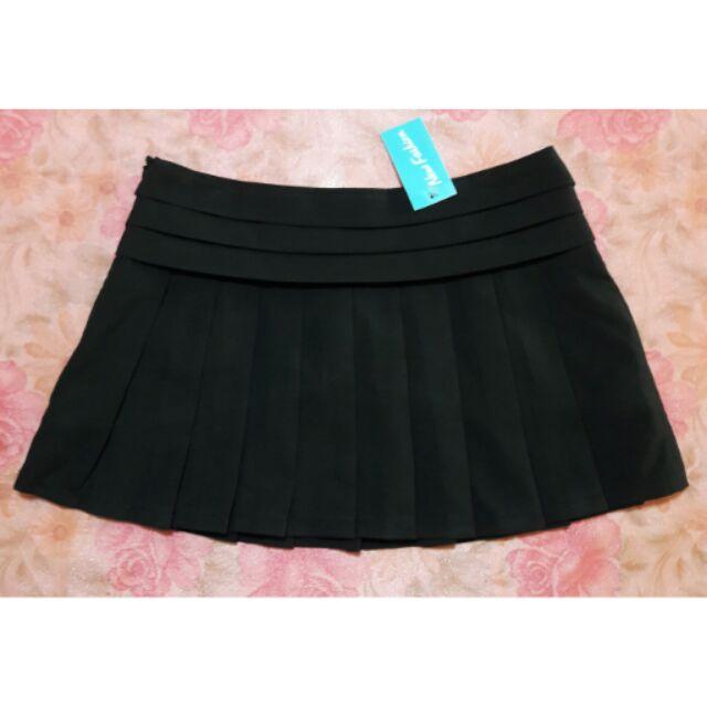 新星夢公園 素色黑裙短裙高腰裙百褶裙