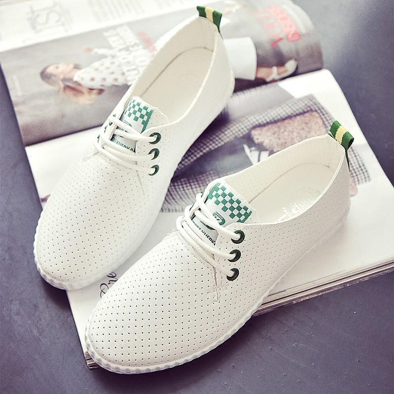 女鞋休閒透氣網鞋百搭小白鞋平底單鞋系帶白色板鞋 鞋高跟鞋單鞋豆豆鞋涼鞋懶人鞋厚底