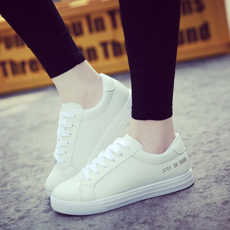 2016 春 潮學生 小白鞋女板鞋平底皮面系帶白色 鞋女娃娃鞋豆豆鞋休閒鞋懶人鞋