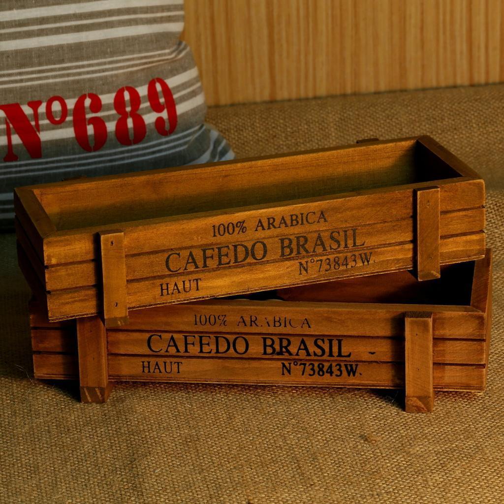 做舊木質收納盒復古花園盆栽室內植物裝飾香草容器 zakka 雜貨木質桌面收納鉛筆盒多肉收取