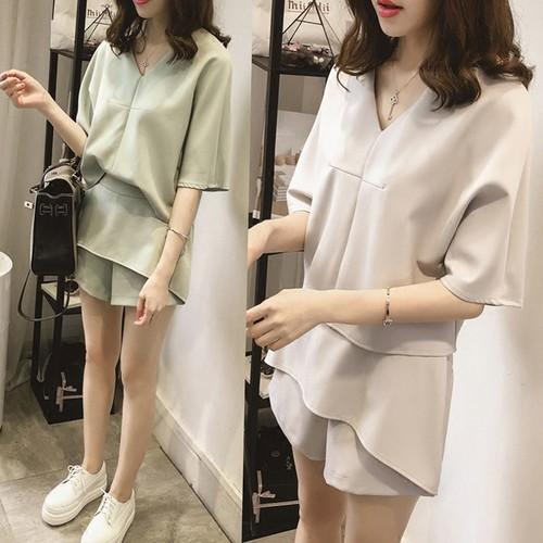 ♛ 實拍♛2017 夏新 大碼女裝短袖兩件套 寬松短褲套裝女女生衣著韓妞 貨到 正韓寬鬆上