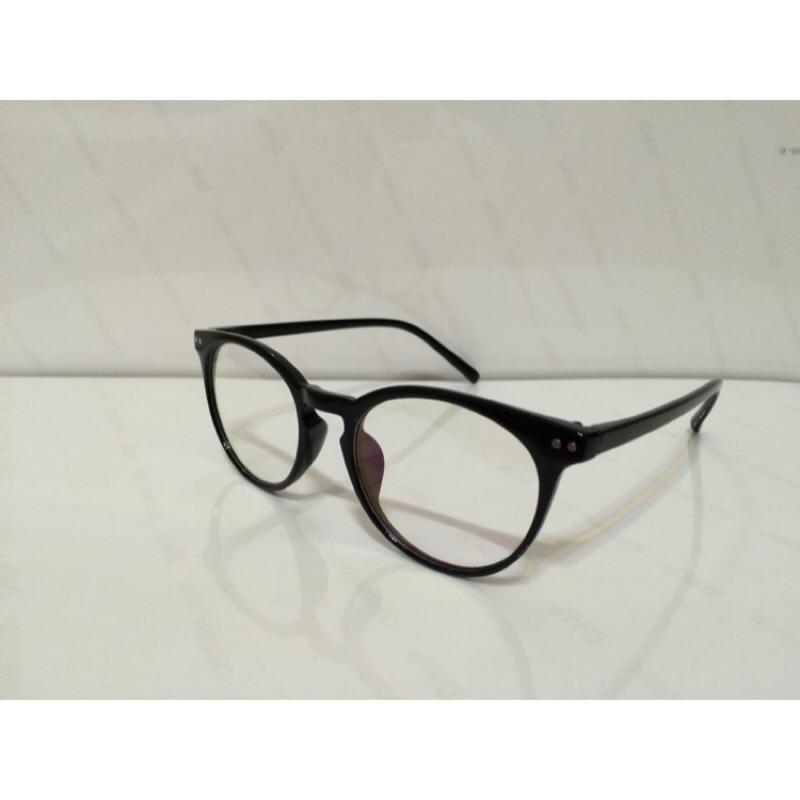 芸芸小舖 圓框文青潮流復古風格 眼鏡附眼鏡袋眼鏡布雙色黑琥珀色