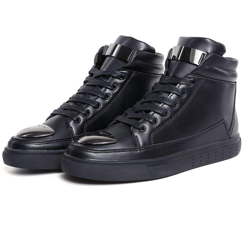 新 男士休閒鞋皮革高筒鞋,黑色, ,大學t ,百搭,鞋t 英倫風,加大碼,情侶,春夏