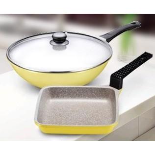 韓國 Kitchen Art 鈦石鍋不沾鍋28cm 炒鍋含鍋蓋菱形平煎鍋鈦晶不沾炒菜鍋煎烤