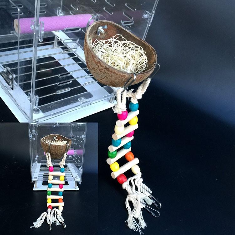 中小型鸚鵡椰殼窩遊樂場鈴鐺梯子二用的鳥籠玩具椰殼 裝飾