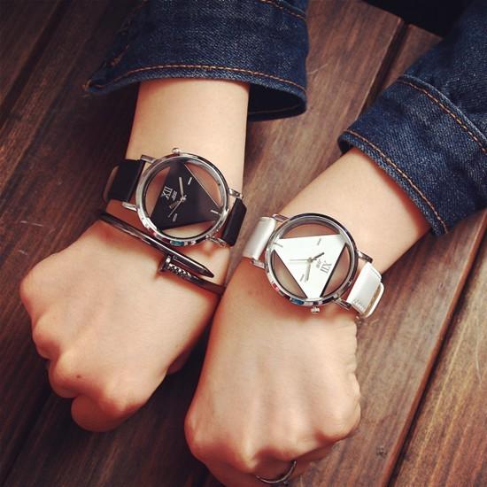 精時簡約原宿三角形手錶石英錶 元素風格雙面簍空三角形 潮錶女錶男錶情侶錶情侶對錶A004