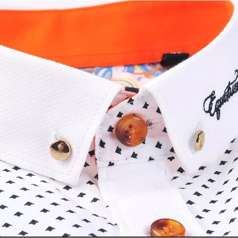 長袖襯衫男商務襯刺繡襯衫領口繡字吸濕排汗襯衫