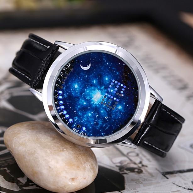 日韓新品潮流星空觸屏手表皮帶led 電子表男女生學生情侶防水皮帶摩卡戀人
