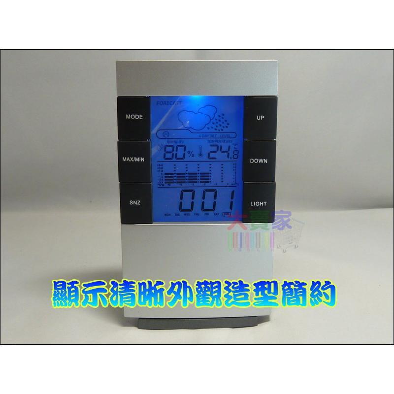 ~一起蝦皮~GE002 超大字幕電子溫濕度計溫度計溼度計時鐘鬧鈴背光藍光 天氣預測萬年曆盒