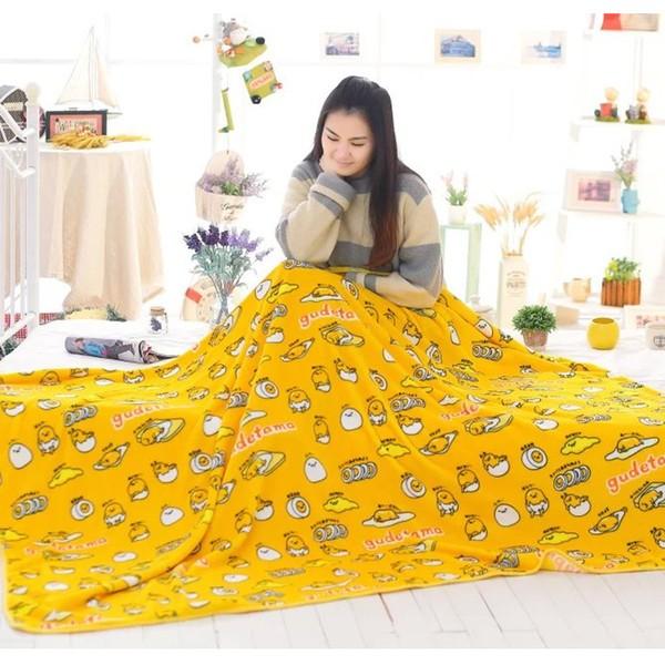 ~ ~ gudetama 蛋黃哥法蘭絨毯毛毯冬空調毯珊瑚絨毯子毛巾被蓋毯床單午睡毯枕套