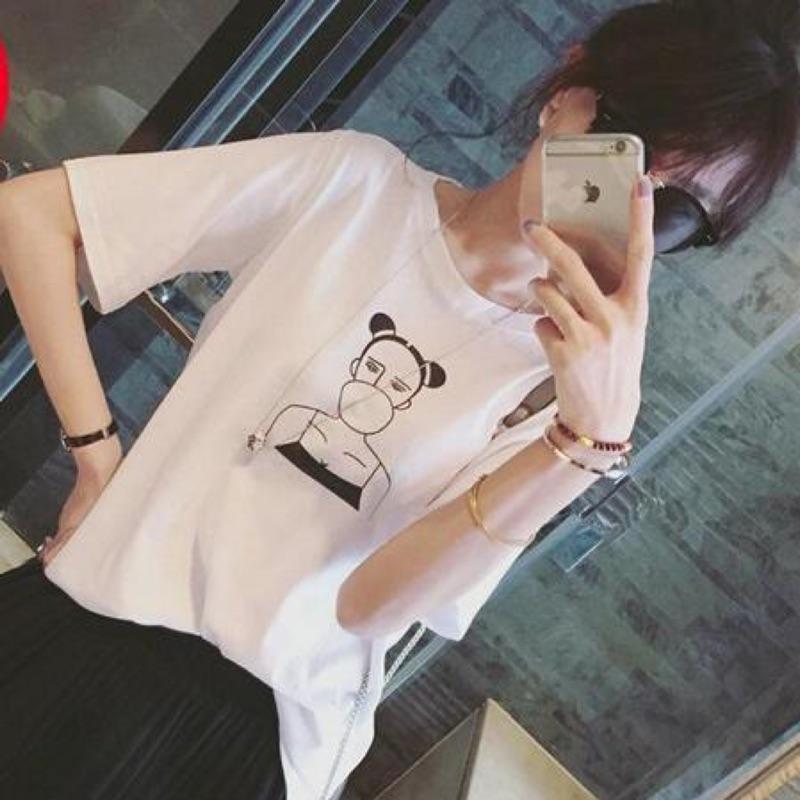 瀅瀅小舖簡約百搭吹泡泡卡通頭像印花寬鬆短袖T 恤