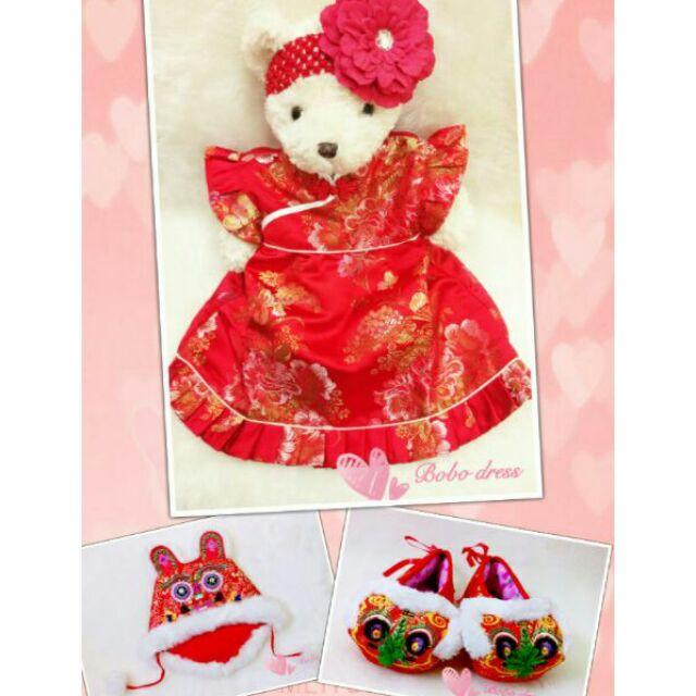~Bobo dress ~ 女寶紅色牡丹花刺繡中式改良旗袍唐裝毛毛邊虎頭帽鞋髮帶抓週禮服套