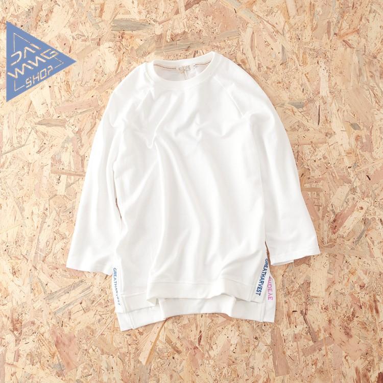■BONJOUR 小版男裝■~ ~日系復古純色寬鬆打底衣 下擺開叉刺繡中長款男裝長袖T 恤