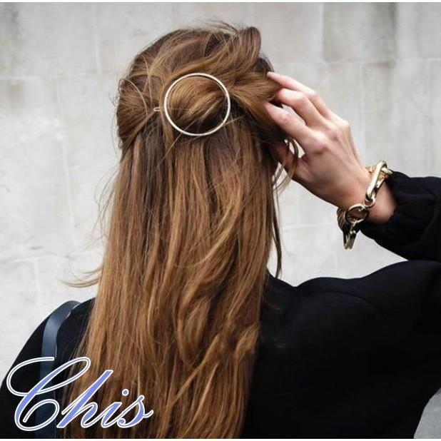 Chis Store ~簡約金屬圓形髮夾~韓國 極簡風金色銀色圓型幾何圖案髮束型髮夾髮圈髮