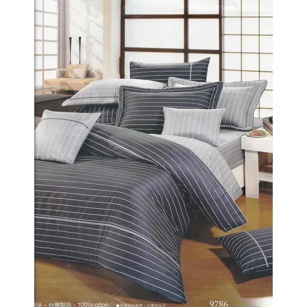 jimmy 寢具小舖~9786 黑灰100 精梳棉雙人床包組~MIT 尺寸可訂做