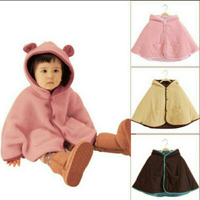 正反兩面可穿三层加厚mikistory 嬰兒披風斗篷 男女寶寶外出服 外套