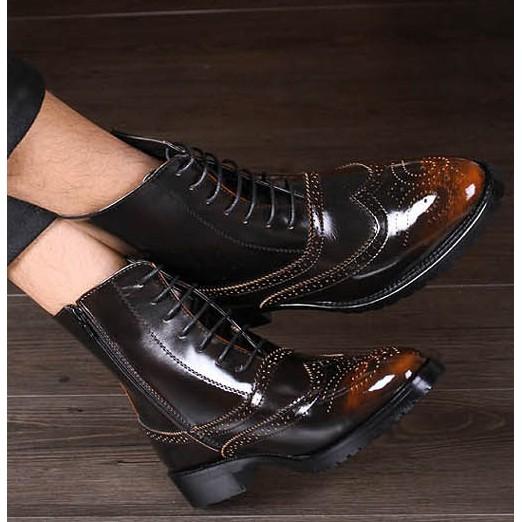高幫皮鞋男 英倫內增高靴子布洛克馬丁靴男鞋雕花中筒短靴