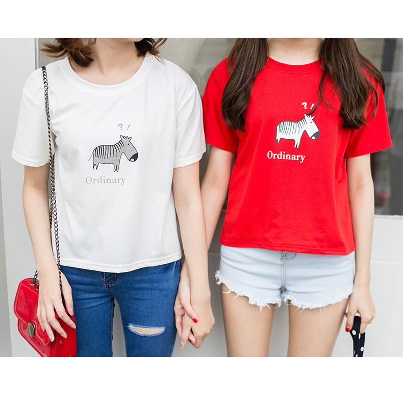 字母卡通斑馬圖案寬鬆顯瘦短袖T 恤