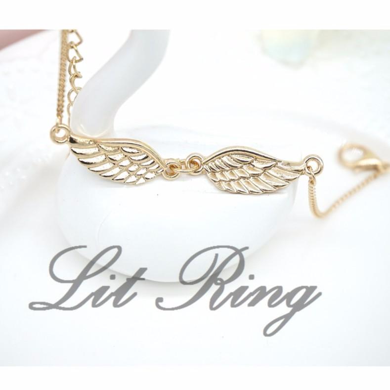 金色翅膀手鍊~ 天使翅膀羽翼雙翼雕刻花紋細鍊鍊條手鍊手環飾品首飾~Lit Ring ~