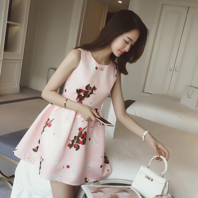 !櫻桃印花無袖洋裝收腰連衣裙短裙女
