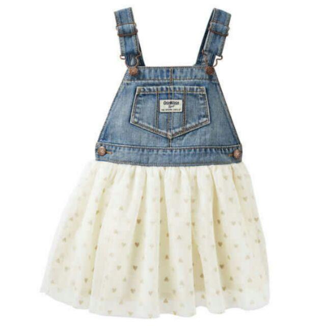 ❤ 在台×可愛的美國 官網正品❤2016 Oshkosh 女童愛心吊帶裙吊帶紗裙4T ca