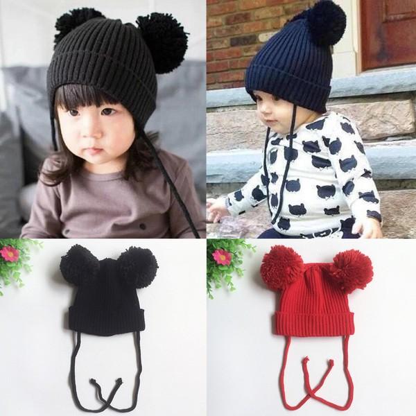嬰幼男女兒童~雙球米奇護耳~毛線帽&針織帽
