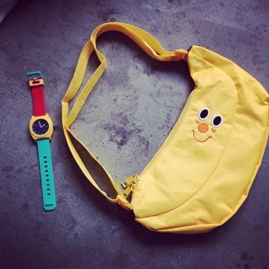 CC ] )韓國ulzzang 香蕉水果背斜背胸口包透明趣味帆布包粽子rooty 嚕嚕米熊