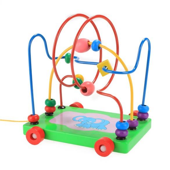 ~寶寶最愛~木質玩具卡通大象拖車嬰兒智力串珠珠多 學步車寶寶早教益智