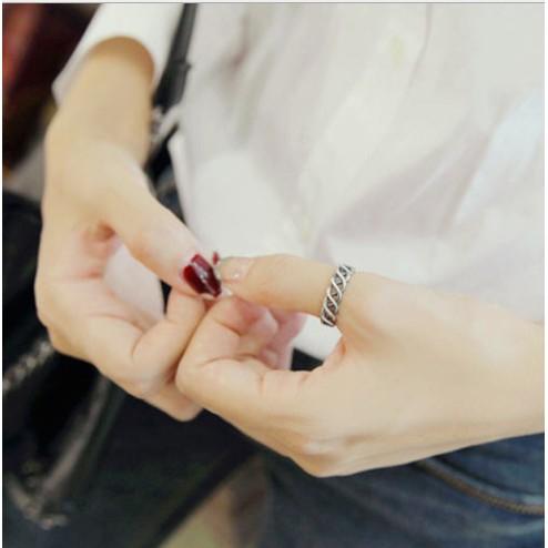 韓國泰銀925 純銀素銀開口編織交織復古縷空戒指指環