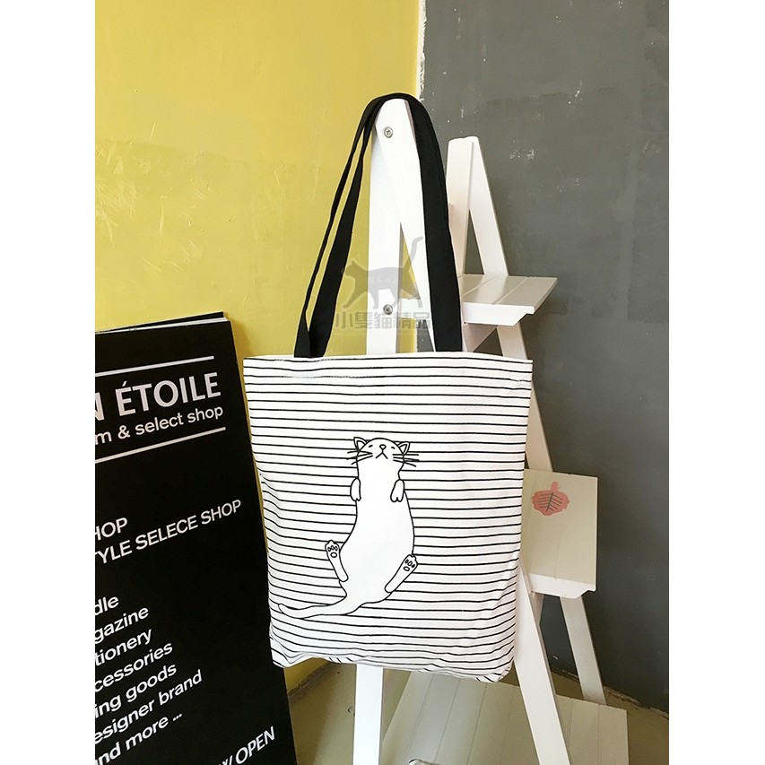 韓國文藝清新簡約條紋貓咪帆布包單肩包環保 袋手提袋布包