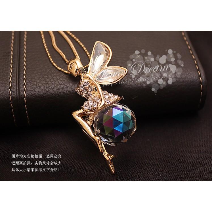 ♡sweetwing ♡ 百搭氣質秀氣金色精靈水晶球水鑽 項鍊短鍊